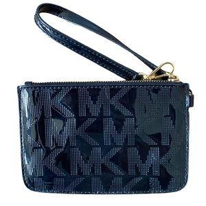 Michael Kors Black Patent Leather Logo wristlet